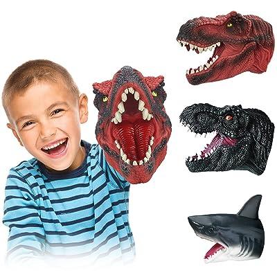 T Rex Soft Rubber Dinosaur Puppets Head Toys COGO MAN Shark Puppet Dinosaur Hand Puppets 3 Pack Carnotaurus Dinosaur Toys Shark Hand Puppet for Kids Adults