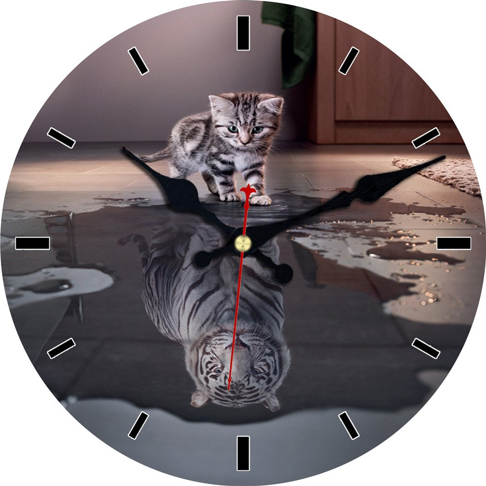 MEISTAR 12 Inch Animal Silent non ticking Wall Clock Quartz movement wall clock art decor(Cat and Tiger)