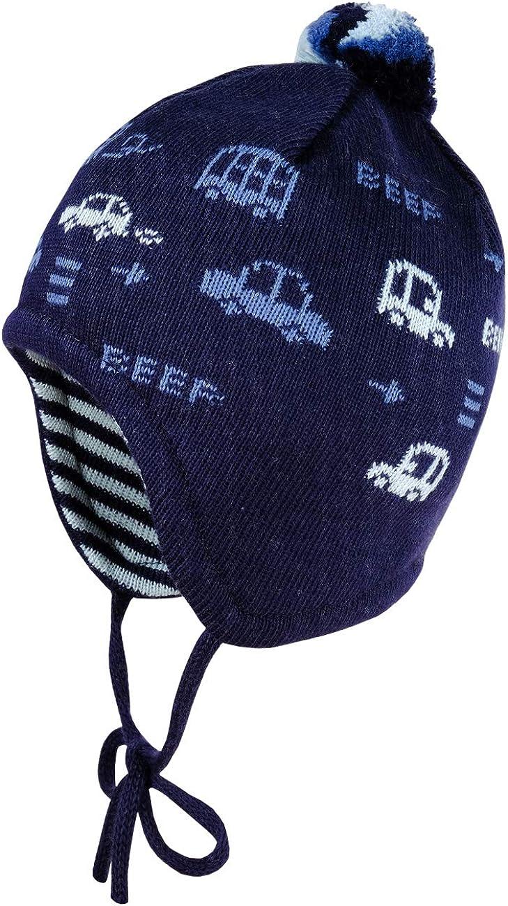 maximo Baby-Jungen Mit Pompon und Automotiven und Bindeband M/ütze