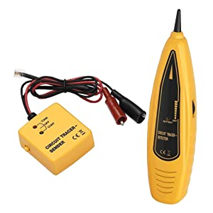 PTE Wire Tracer & Circuit Tester - Tone Generator and Probe Kit - Find & Trace Wires and Cables, Test Circuit Continuity, Network Telephone Lines - Features Alligator Clips and RJ-11 Plug