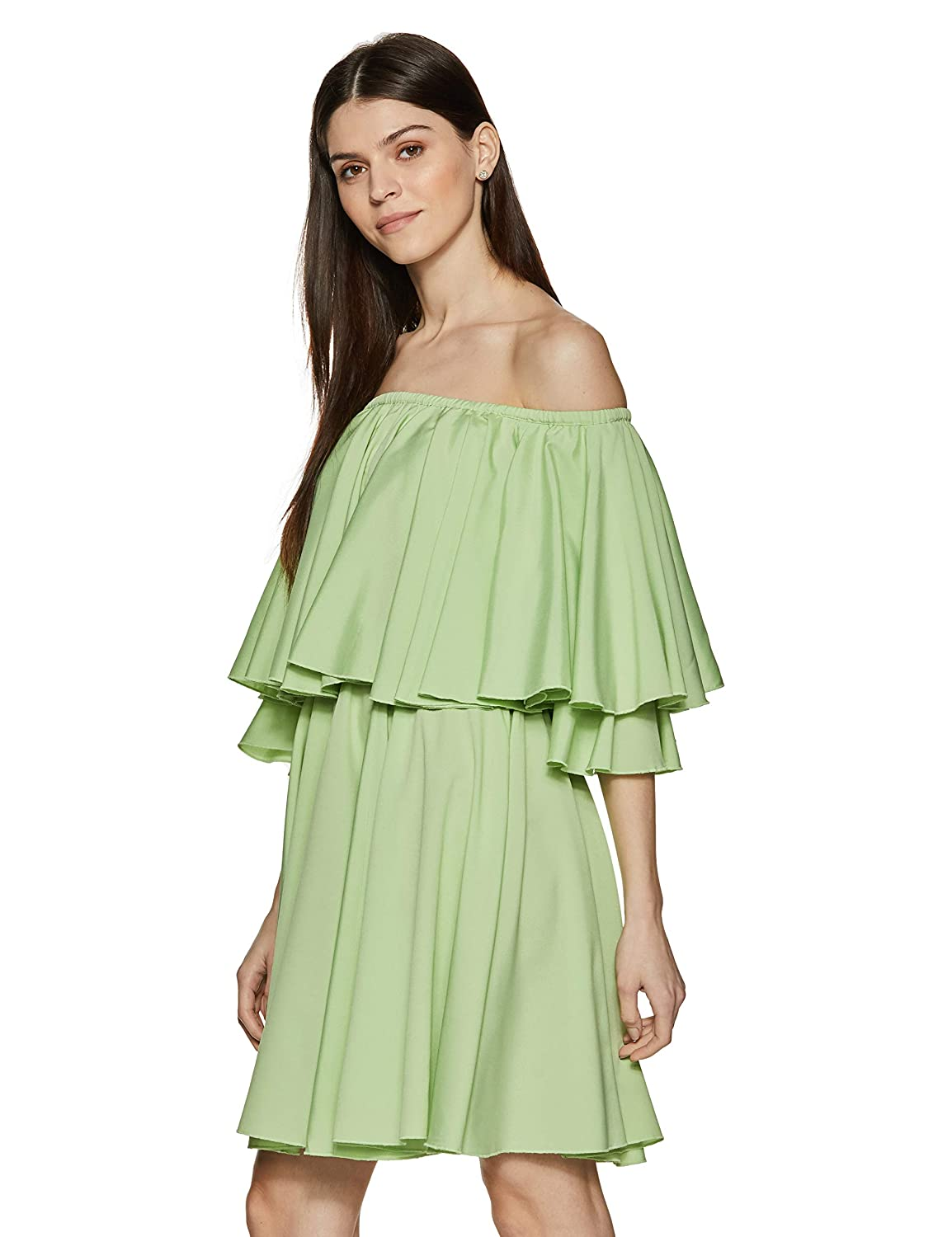Stalk Buy Love Women s Lime Diana Off Shoulder Skater Dress  (In1825Mtodregrn-143 Green S)  Amazon.in  Clothing   Accessories 330c592c21