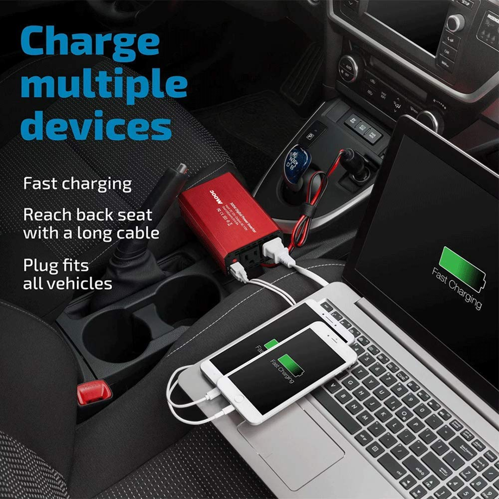 Runian Car Charger DC 12V to 110V AC Converter 4.8A Dual USB Ports Car Adapter 300W Car Power Inverter