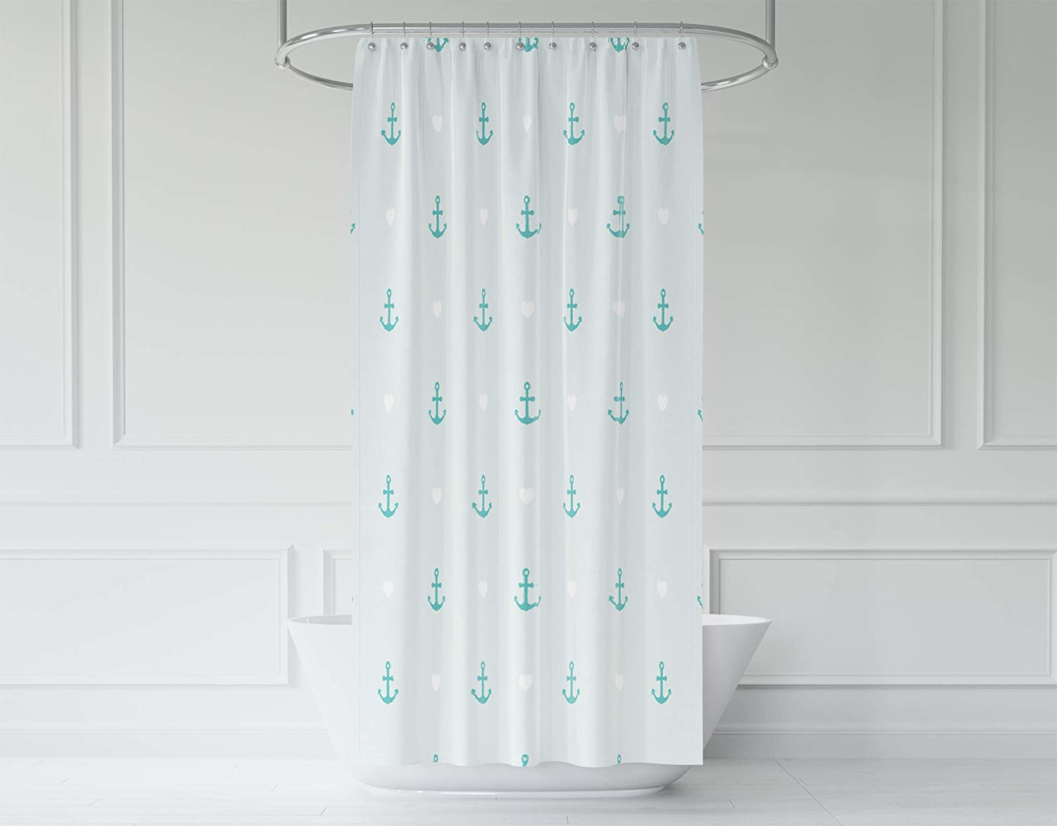 Pamime Pattern Of Anchor And Hearts Use To Create Quilting Shower Curtain 72X72Inches For Bathroom With WaterproofMildew Resistant Eco Friendly