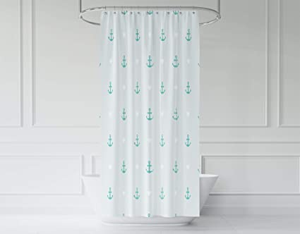 Pamime Pattern Of Anchor And Hearts Use To Create Quilting Shower Curtain 72X72Inches For Bathroom With