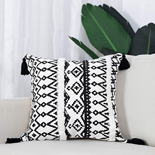 Cross in Black Black and White Linen Throw Pillow Cover Cushion Case Home Decorative for Sofa 18 x 18 Inch