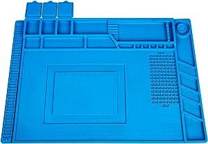 YESCOO Silicone Soldering Mat Silicone Repair Mat, Magnetic Repair Mat for Soldering Iron, Electronics Soldering Repair, Heat Gun, Size: 17.8 x 11.8 inch