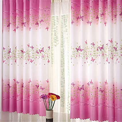 Butterfly Flowers Printing Semi Blackout Curtains With Curtain Hooks Window Panels For Girls Room