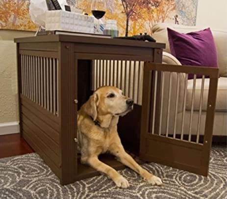 Gentil Large Dog Kennel Cage Crate Pet Eco Wood Oversized Puppy Bed End Table