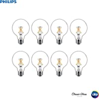 8-Pack Philips 536557 E26 LED Dimmable G25 Clear X-Filament Glass Light Bulb with Warm Glow Effect (Soft White)