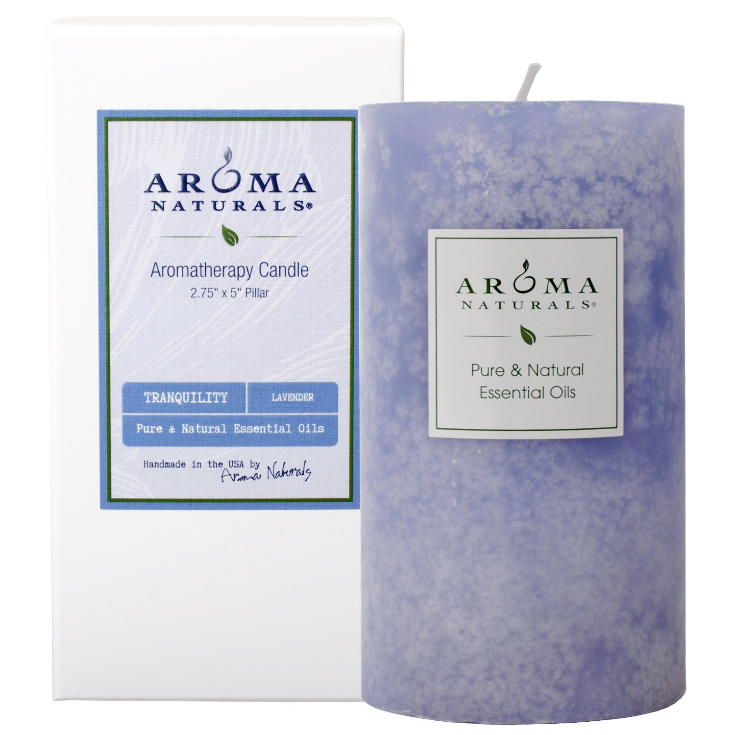Aroma Naturals Essential Oil Scented Pillar Candle, Tranquility, 2.75 Inch X 5 Inch, Lavender, 1 Pound