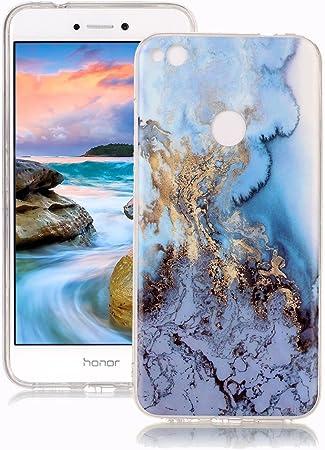 Cover Huawei P8 Lite 2017 Marmo Yunbaozi Design Marmo Custodia Mare Blu/Oro