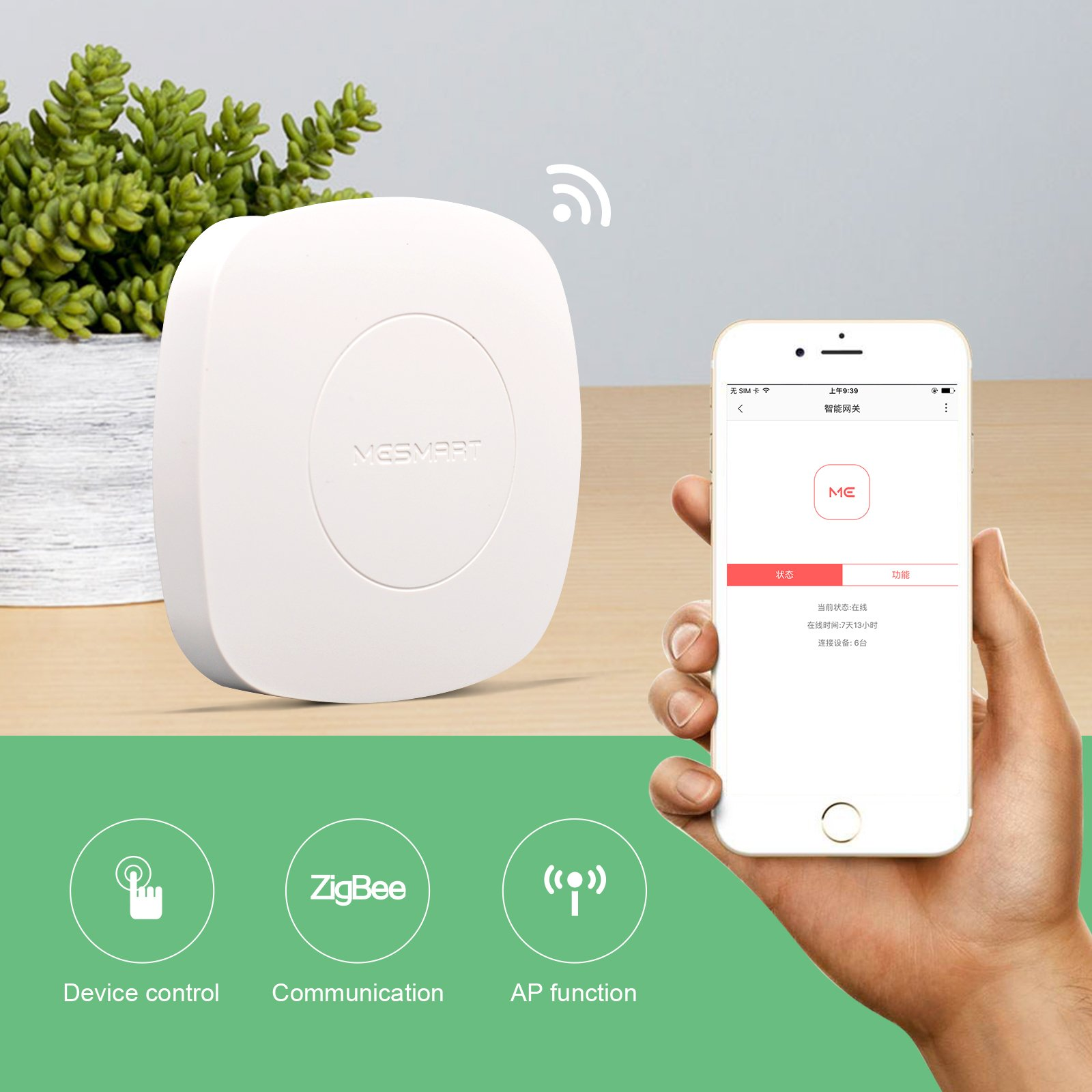 MESMART Wireless Connected Smart Home Hub Controller Secuirty Automation System Brain Center Zigbee Compatible with Amazon Alexa by MESMART (Image #6)