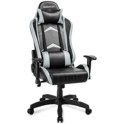 Modern Luxe Racing Style PU Leather Office Chair Swivel Computer Gaming  Chair Executive Reclining Chair (Gray)