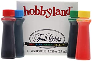 Hobbyland Assorted Food Coloring Liquid Set (Red, Yellow, Blue, Green.3 fl oz Bottles)
