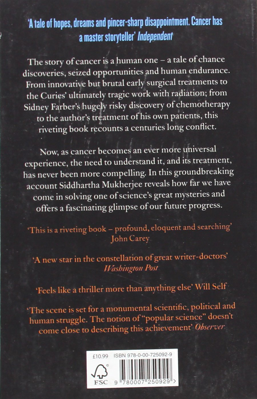 The Emperor Of All Maladies: A Biography Of Cancer: Amazon:  Siddhartha Mukherjee: 9780007250929: Books
