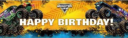 Amazon Com Monster Jam Party Supplies Decoration Vinyl Birthday Banner 18 X 61 Toys Games