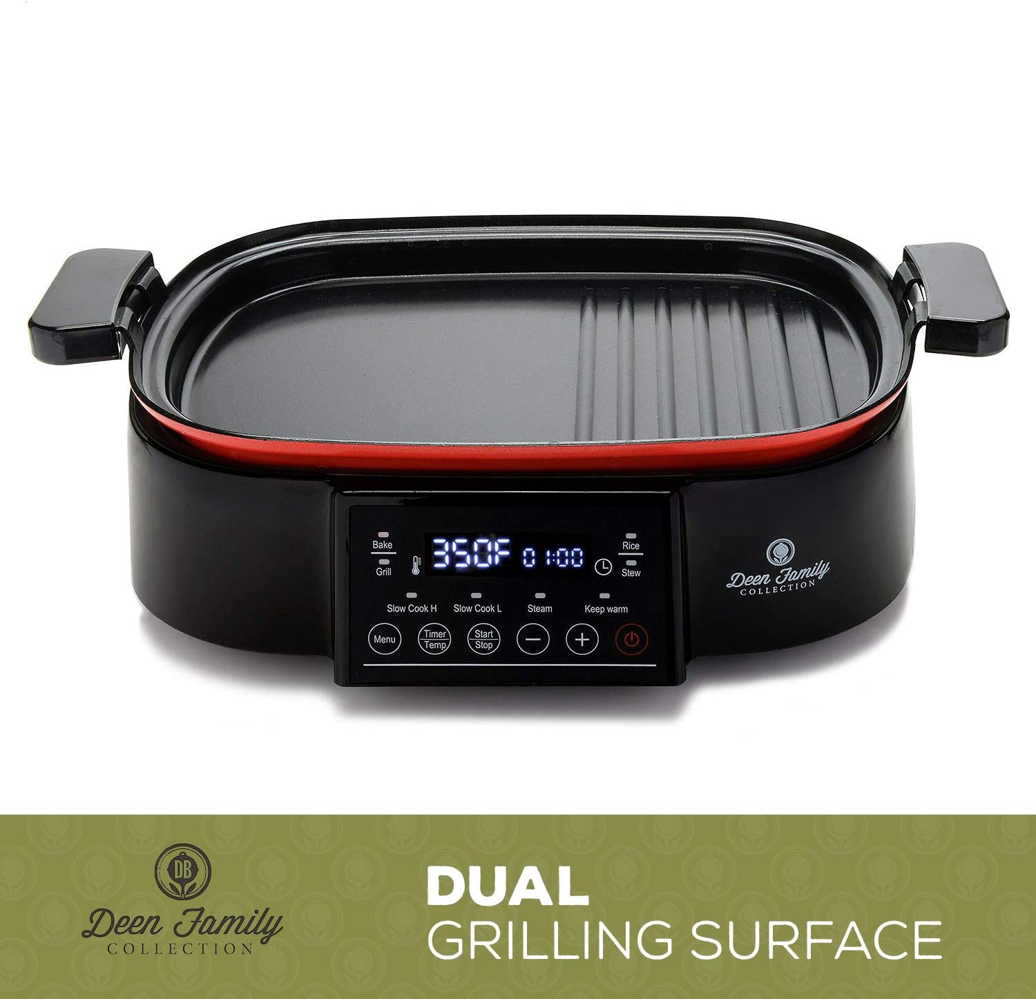 Deen Family 2-in-1 6QT 1250 Watt Multi Cooker and Grill with Glass Lid
