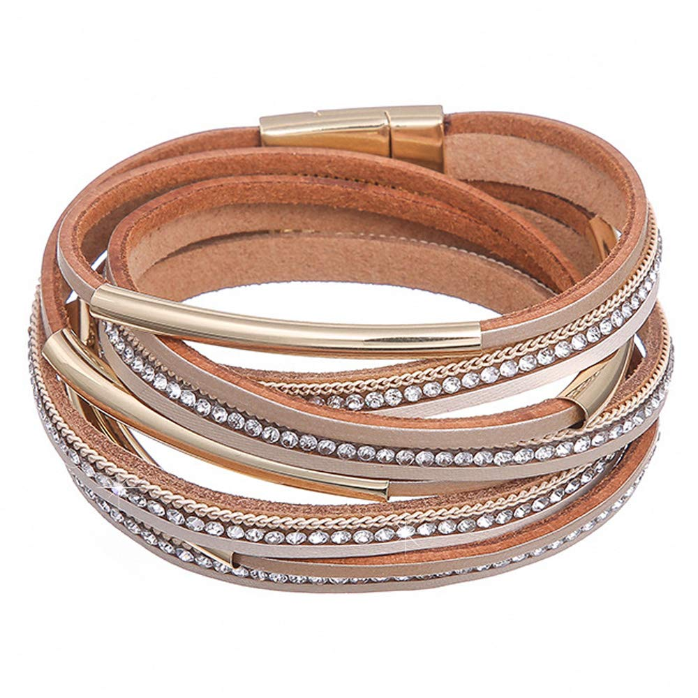 DESIMTION Womens Leather Crystal Boho Wrap Around Stacking Bracelet Multilayer Soft Gold Wide Wrist Magnetic Clasp Buckle Casual Bracelets for Women Mom Teen Girls Grandma by DESIMTION