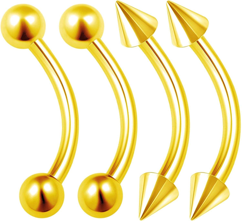 4 Piezas de Acero quirúrgico anodizado Curvado de Calibre 14 4 mm Bola de Clavo de Cartílago Rim Pendientes Piercing Nariz Joyería Tamaños a Elegir