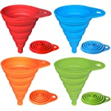 Hibery 4 Pack Silicone Collapsible Funnel,...