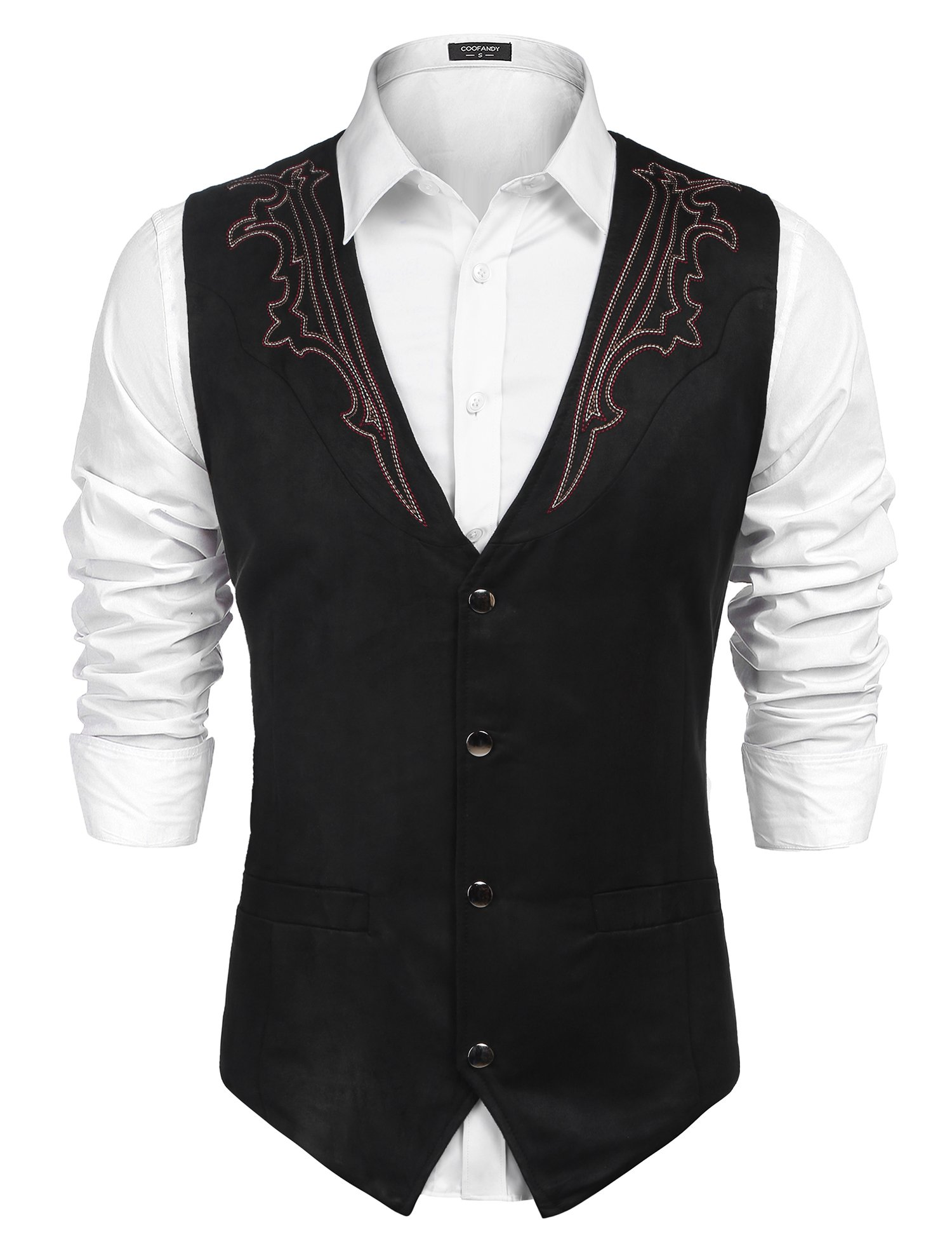 COOFANDY Mens Casual Suede Leather Vest Single-Breasted Vest Jacket,Black-4,XX-Large by COOFANDY