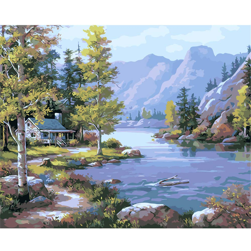 Coloring Paint By Numbers Kit Decorations Riverside Hut Creek Forest Mountain Range On Canvas Diy For Adult Child-Framed 40X50Cm