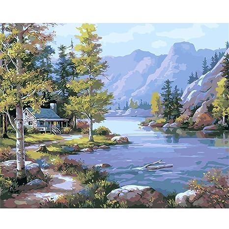 ADVLOOK Pintura por Números Caseta De Riverside En Sentido Opuesto. Pintura Acrílica Pintada A Mano