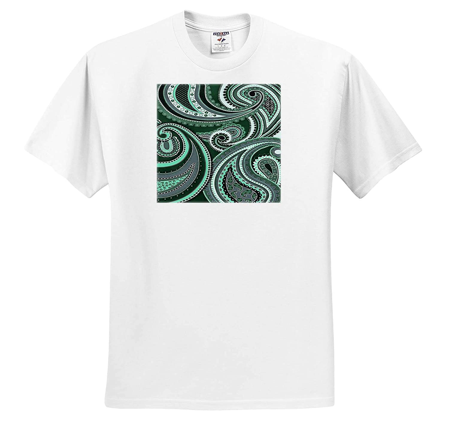 Adult T-Shirt XL Paisley Design Playing with Paisley Patterns Aquamarine Tones Digital Art 3dRose Taiche ts/_317493