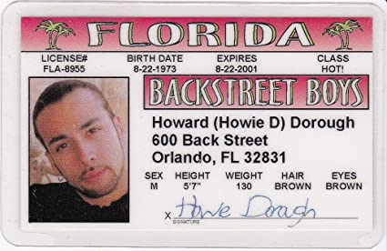 Howie Dorough Novelty Drivers License / Fake Id Identification for  Backstreet Boys Fans
