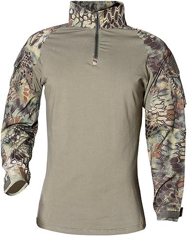 Hombres Airsoft Militar Táctico Camisa Largo Manga Camuflaje Combate BDU Camo Camisetas con Cremallera Pitón Verde x-Large: Amazon.es: Ropa y accesorios