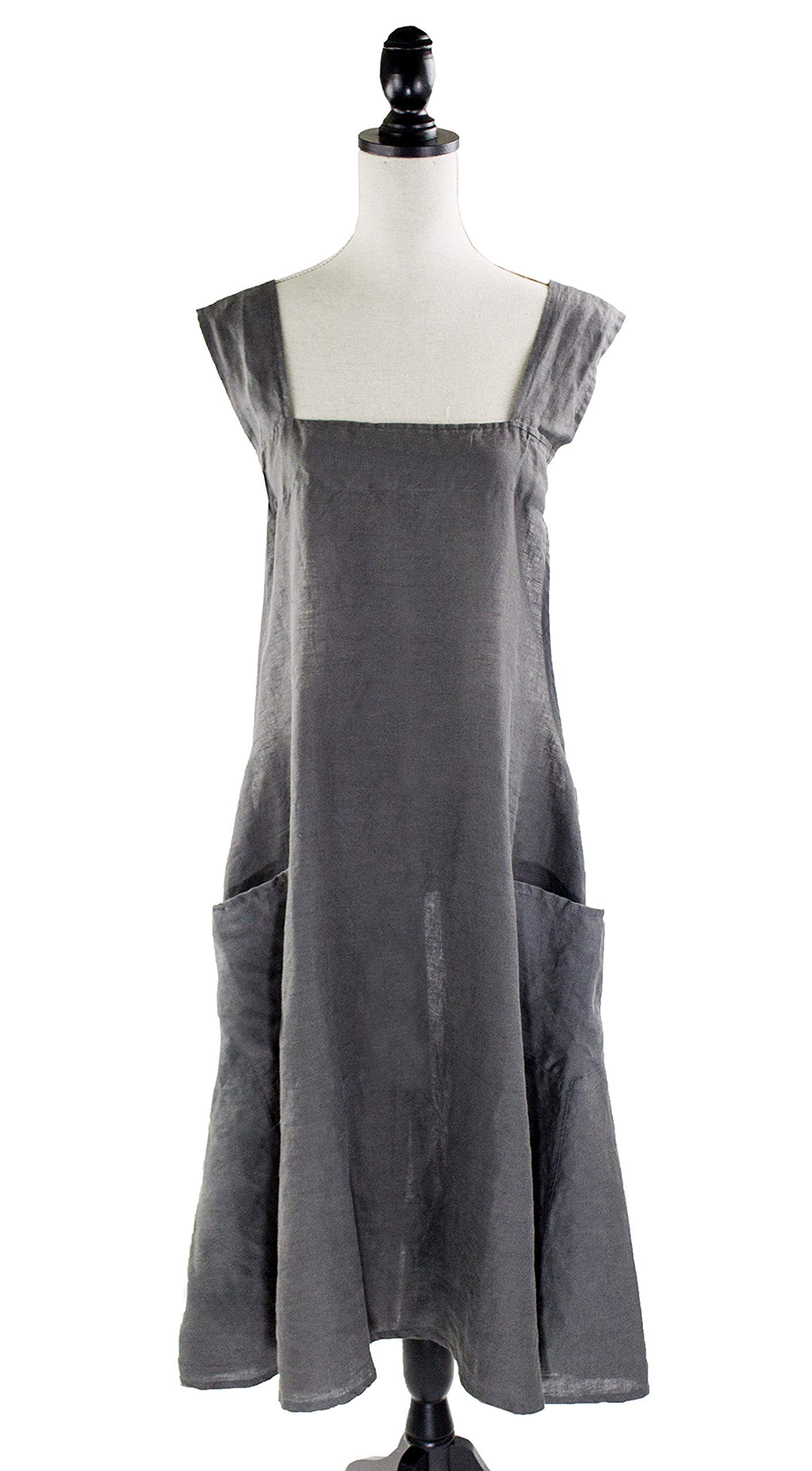 Fennco Styles Solid Criss Cross Back Apron Pure 100% Linen Cooking Kitchen Apron - 8 Colors (Slate) by fenncostyles.com