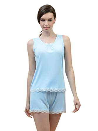 f2bc791f36d7 SIORO Pajamas Set Sexy Sleepwear Lace Trim Tank Top and Shorts Sleeveless  Pjs for Women  Amazon.co.uk  Clothing