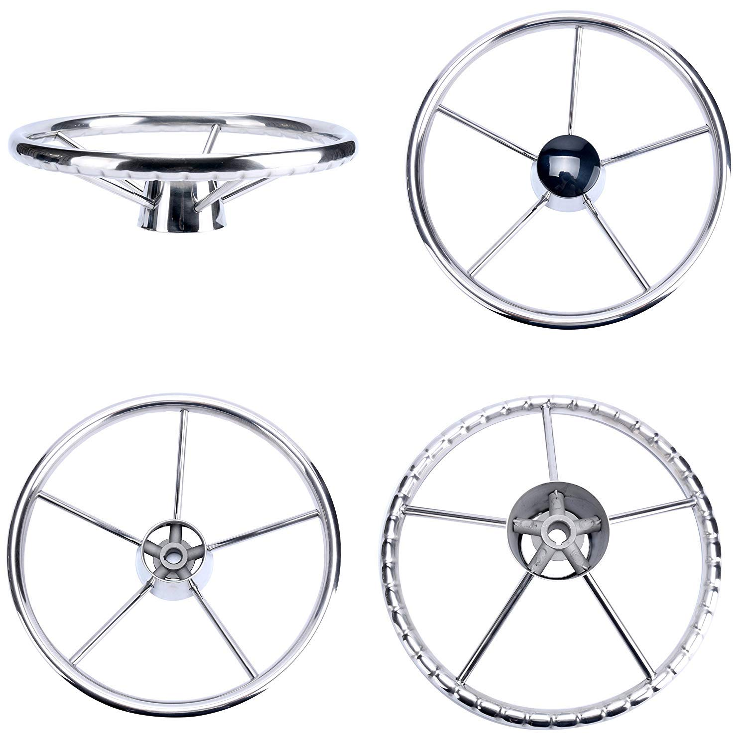 Amarine-made13-1/2 Inch 5-Spoke Destroyer Style Stainless Boat Steering Wheel by Amarine Made