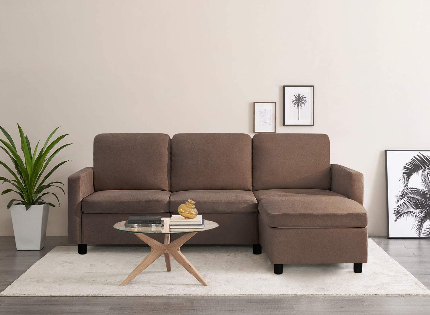 Pawnova Convertible Sectional Sofa Couch L-Shaped Settee with Soft Seat, Comfortable Backrest and Modern Linen Fabric for Small Space, Living Room, Brown