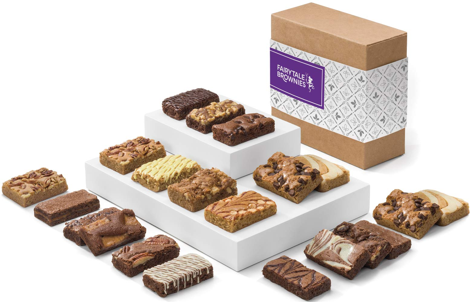 Fairytale Brownies Bar & Sprite Combo Gourmet Chocolate Food Gift Basket - 3 Inch x 1.5 Inch Snack-Size Brownies and 3 Inch x 2 Inch Blondie Bars - 21 Pieces - Item CF382