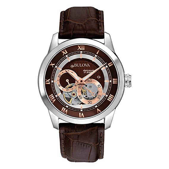 06b220eef Bulova 96A120 Men's Mechanical Automatic Watch with Brown Dial and Leather  Strap: Bulova: Amazon.ca: Watches