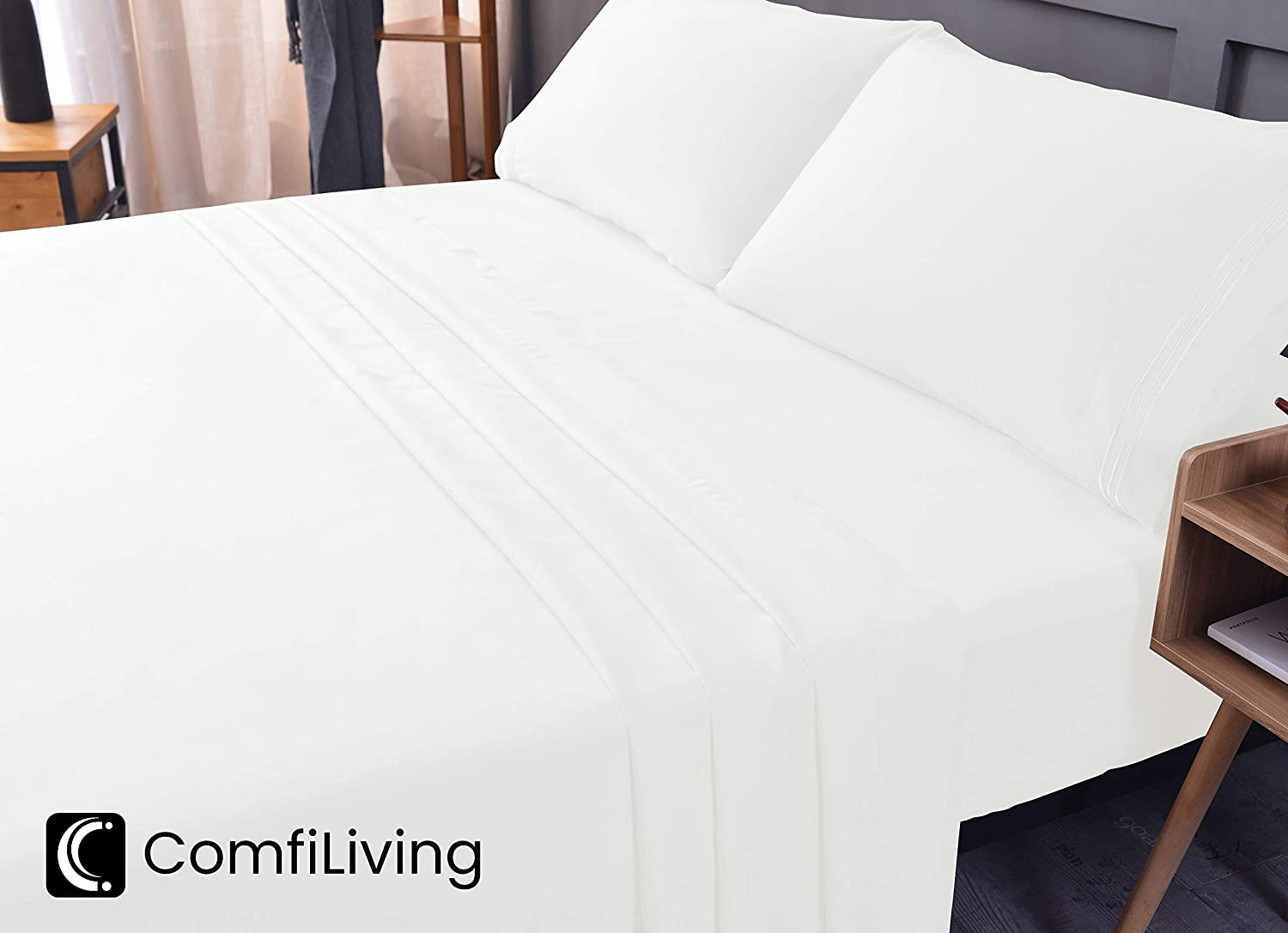 ComfiLiving King Bed Sheet Set - Bamboo,Cooling Sheets, Eco-Friendly, Non-allergenic, Wrinkle Free, Ultra Soft, Fade and Shrink Resistant, Deep Pocket Bedding Sheets - 4 Piece Set (White, King)