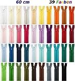 Lot de 39 fermetures Éclair Différents coloris 60 cm