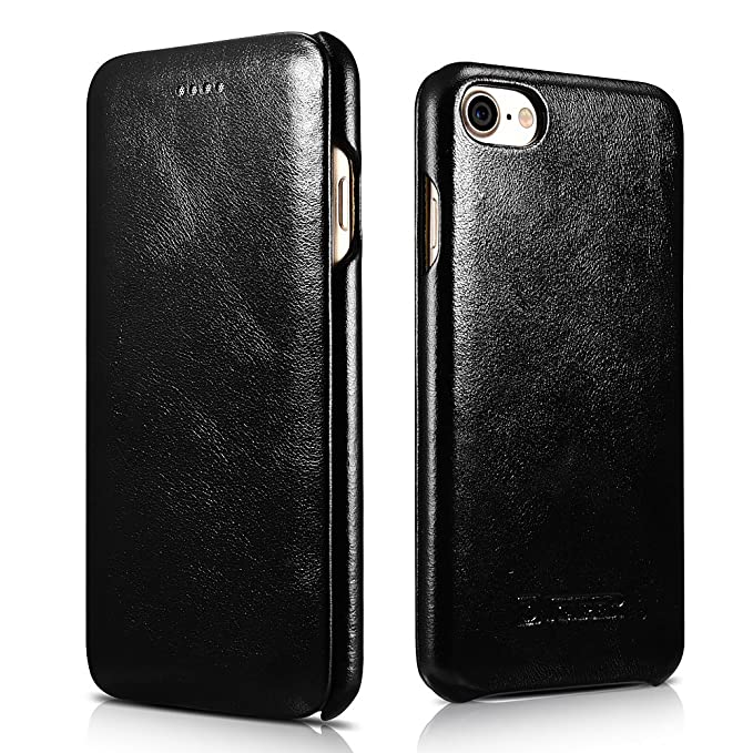new product e673c 23822 iPhone 8 Case iPhone 7 Leather Case, Icarercase Genuine Vintage Leather  Side Open Case in Slim Thin Design, Flip Folio Style Cover with Magnetic ...