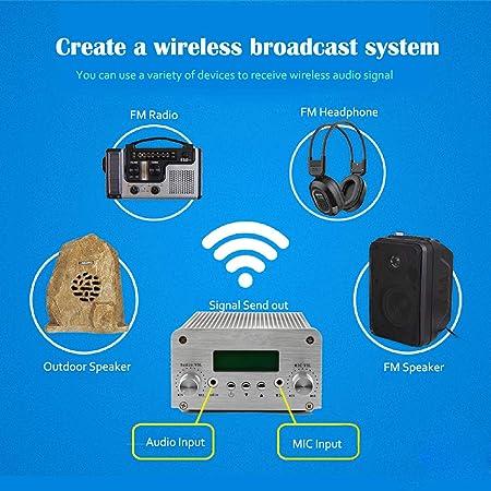 tivdio t6-a FM transmisor 1 W/6 W estéreo de radio estación PLL LCD con antena (plata): Amazon.es: Hogar