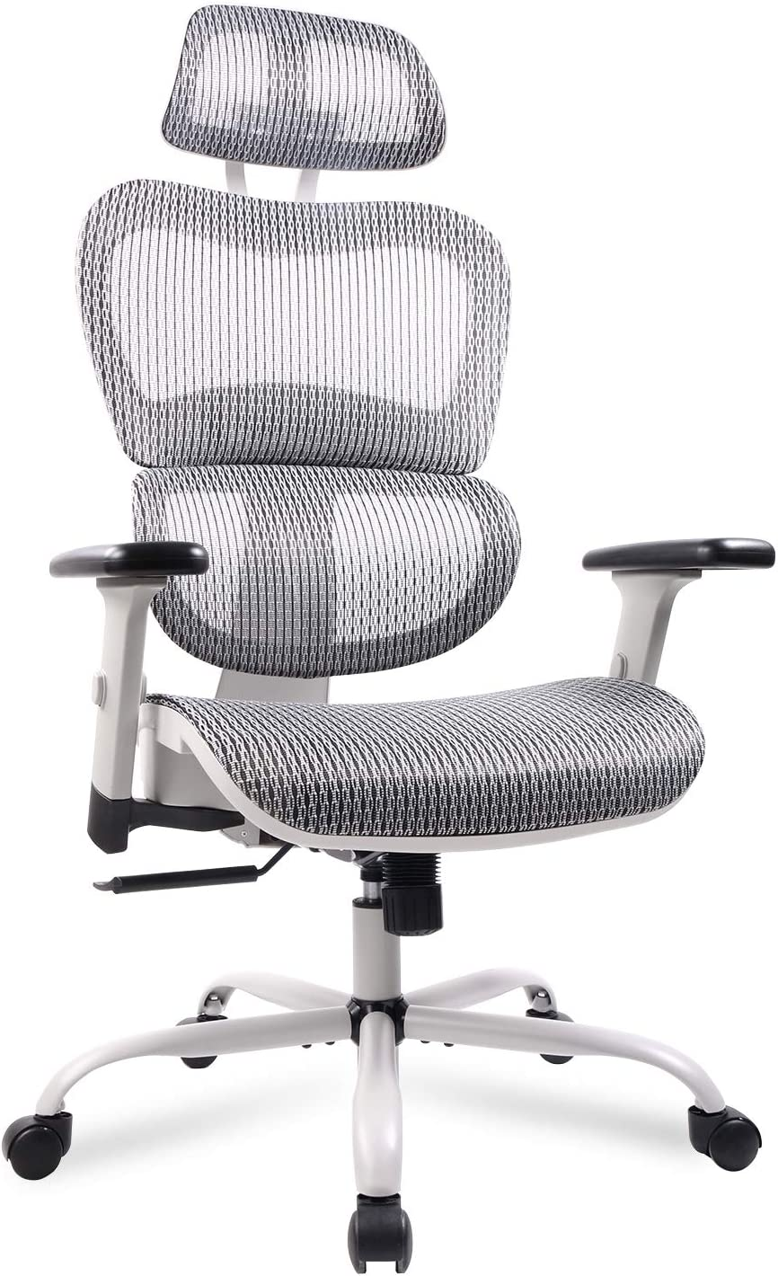 Home Office Chair Mesh Ergonomic Computer Chair with 47D Adjustable Armrests  Desk Chair High Back Technical Task Chair - Grey