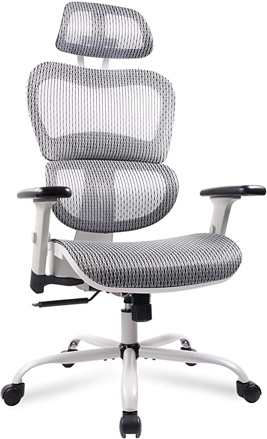 Amazon Com Home Office Chair Mesh Ergonomic Computer Chair With 3d Adjustable Armrests Desk Chair High Back Technical Task Chair Grey Kitchen Dining