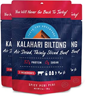product image for Kalahari Biltong | Air-Dried Thinly Sliced Beef | Spicy Peri Peri | 2oz (Pack Of 3) | Sugar Free | Keto & Paleo | Gluten Free | Better Than Jerky