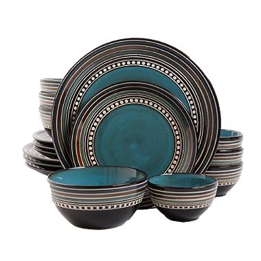 Gibson Elite Café Versailles 16 Piece Double Bowl Dinnerware Set, Blue