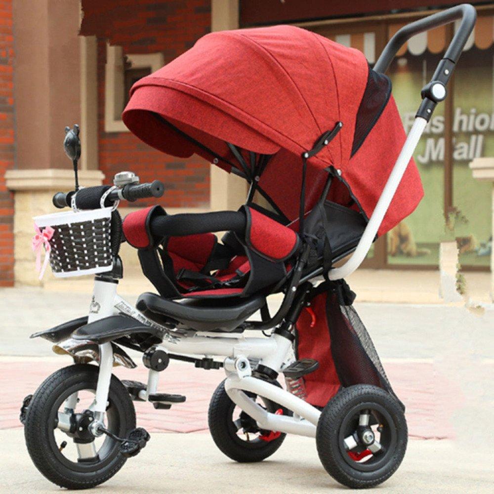 los clientes primero rojo QXMEI Triciclo Triciclo Triciclo Infantil De 1 A 3 Años De Edad, Cocherito Plegable Ligero Niños Y Niñas Niños En Bicicleta De 1-2-3 Años con Toldos,Suit  el precio más bajo