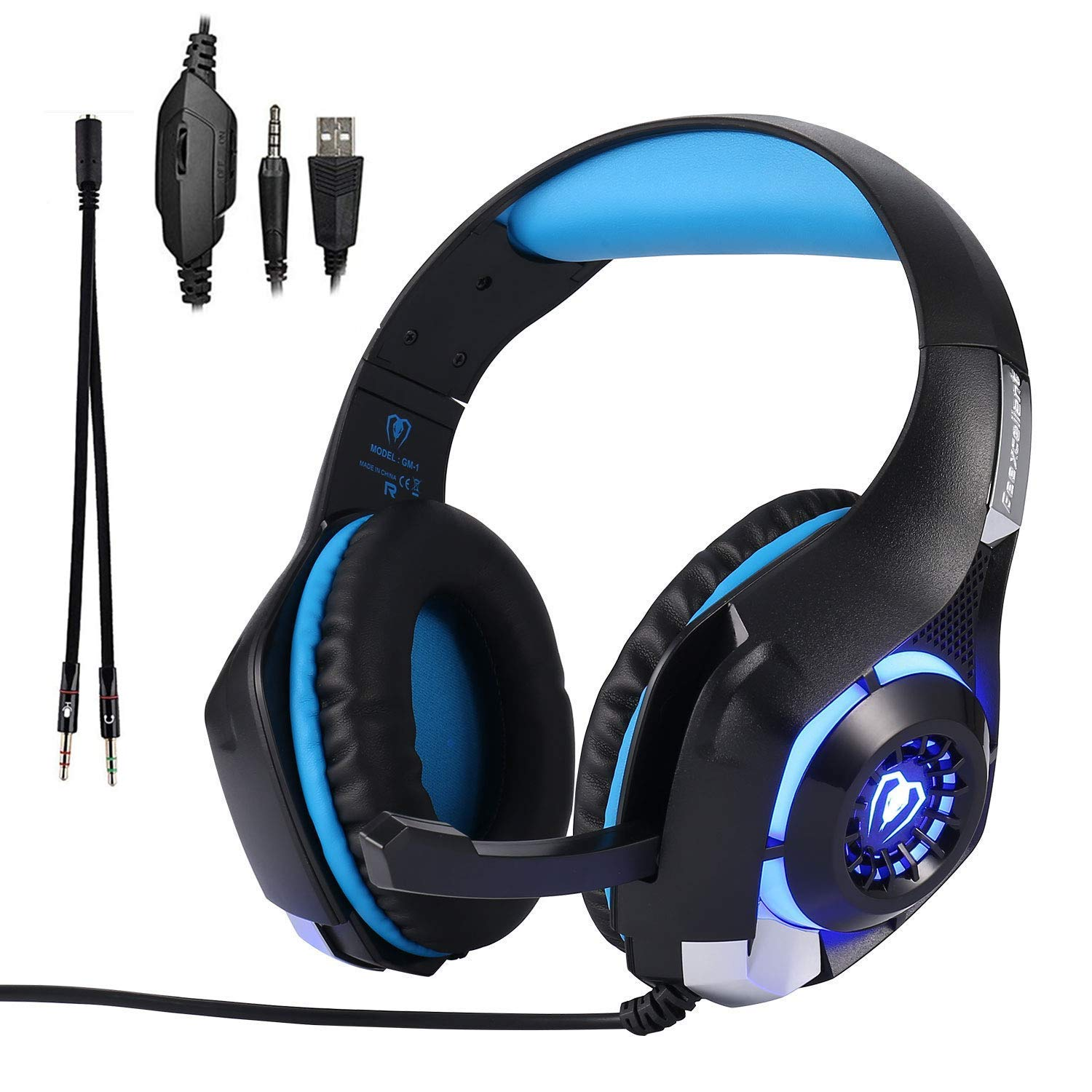 Xbox One Gaming Headset for PS4 PC Laptop Tablet Smartphone Over-Ear Nintendo Switch Headphones with Mic and Rotary Volume Control Noise Cancelling LED Lighting and Stereo Surround Sound Headset