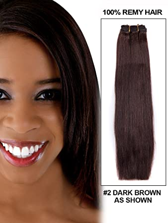 22quot Clip In Remy Human Hair Extensions 2 Dark Brown