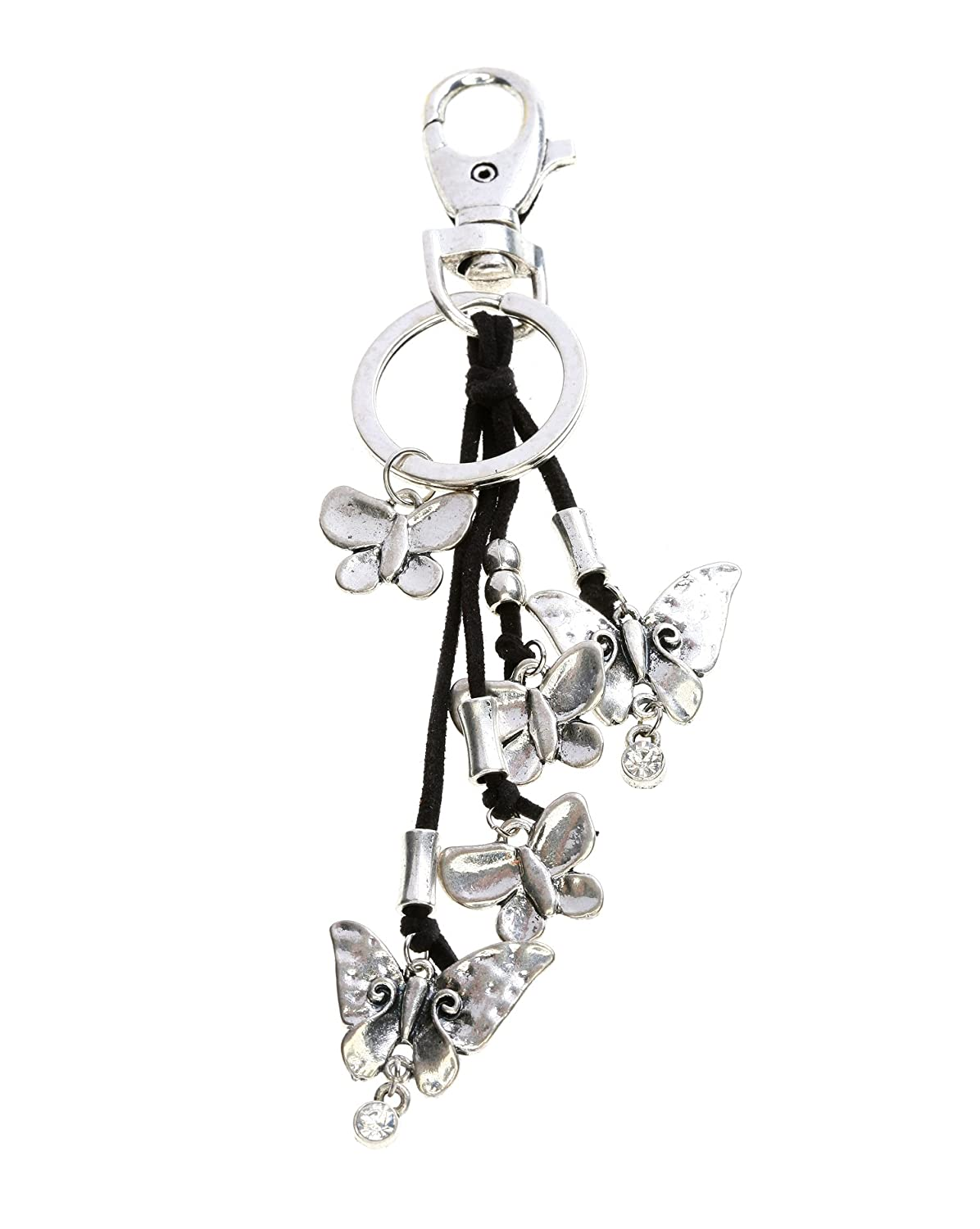 Fashion Keychain with Cords and Butterfly Charms