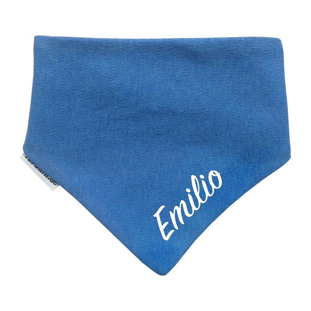 Topolini Baby Halstuch/Dreieckstuch Jeansblau mit Name bestickt