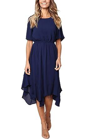 ECOWISH Damen Chiffon Kleider Asymmetrisch Sommerkleid Einfarbig Rundhals  Kurzarm Plissee Kleid Casual Lose Kleid Knielang  Amazon.de  Bekleidung ac67b44314